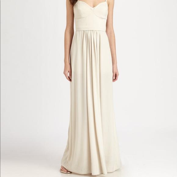 Bcbgmaxazria Dresses Bcbg Long White Kyra Bustier Dress Poshmark